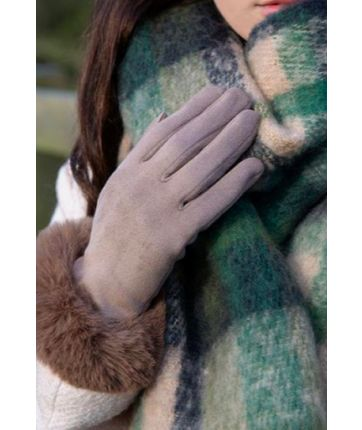 TOUCHSCREEN FAUX SUEDE GLOVES WITH FAUX FUR CUFFS