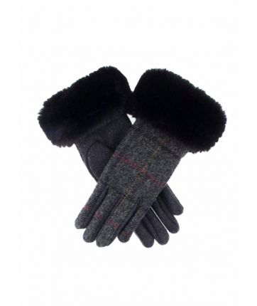 MOON TWEED GLOVES WITH FAUX FUR CUFFS