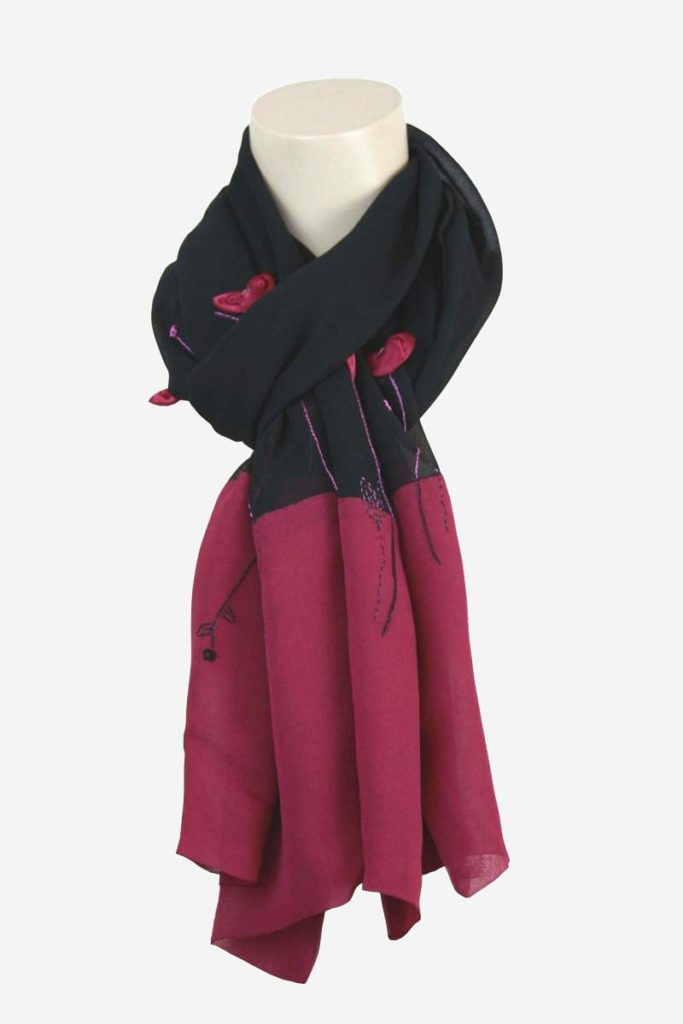 scarf black and pink